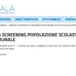 SCREENING POPOLAZIONE SCOLASTICA – SARS-COV 2